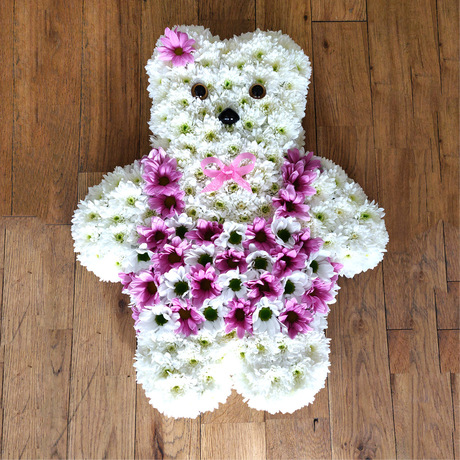 Girl teddy funeral wreath for child