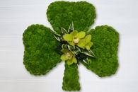 Bright green shamrock funeral wreath