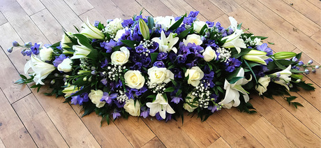 Blue and white casket top