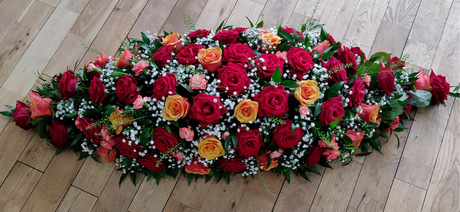 Orange and Red Rose Casket Top